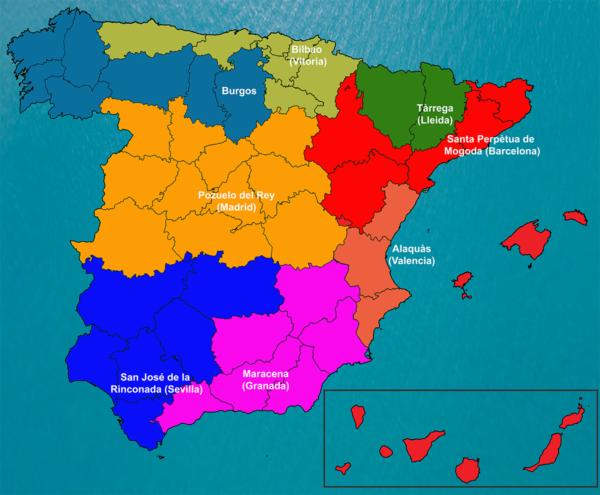 Mapa provincial de influencia de las delegaciones de Bacsa