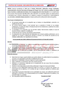 Política de Calidad 2020 - Bacsa